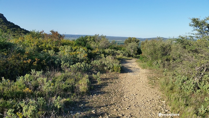 Un chemin de randonnée sur les hauteur de Sernhac dans le gard